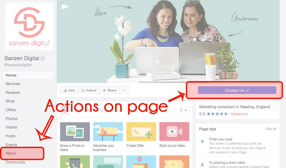 Actions on Facebook page - Sazen Digital